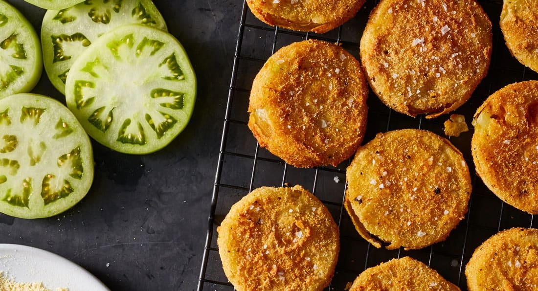 Air Fryer Fried Green Tomatoes without Cornmeal